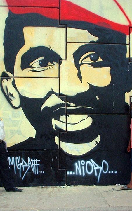 Une murale représentant le président Thomas Sankara
